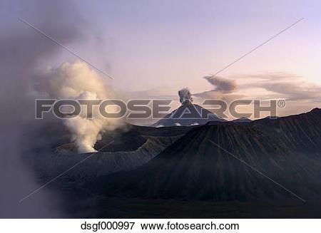 Picture of Indonesia, Java, Volcanos Bromo, Batok and Semeru in.