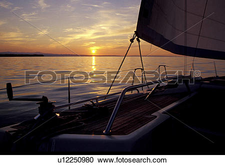 Stock Photography of evening light, balustrade, dusk, day, boat.