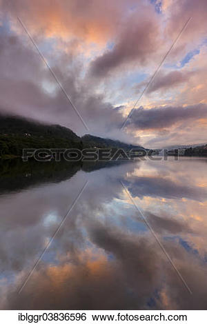"Stock Images of ""Evening mood at Ytre Arna, Sorfjord near Osteroy."