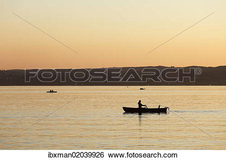 "Stock Images of ""Evening mood, Herrsching, Ammersee Lake or Lake."