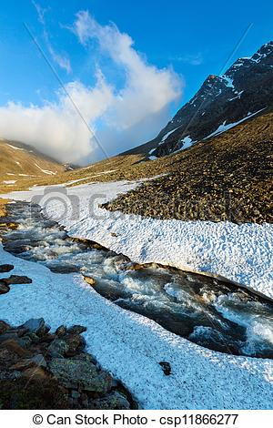 Picture of Evening mountain stream and sunset (Timmelsjoch.