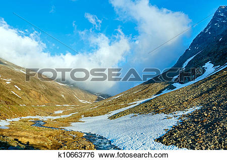 Stock Images of Evening mountain stream and sunset (Timmelsjoch.
