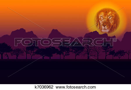 Clip Art of African Sunset Lion and Mountain k7036962.