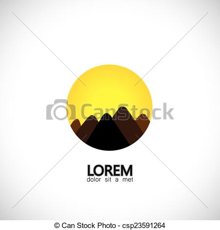 Clip Art Vector of abstract hills and mountain ranges and evening.