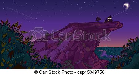 Clipart Vector of House On Mountain Evening Scene.