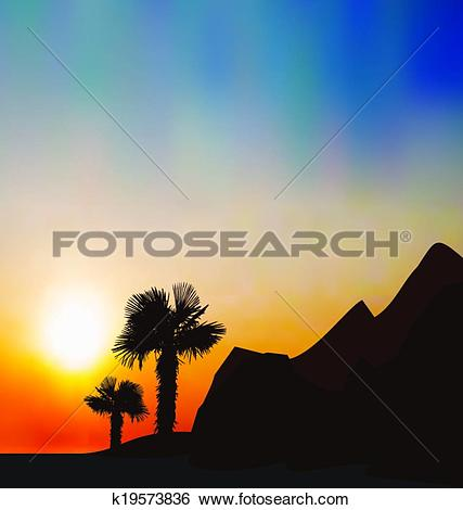 Clip Art of Evening tropical landscape with sea, mountain, palm.