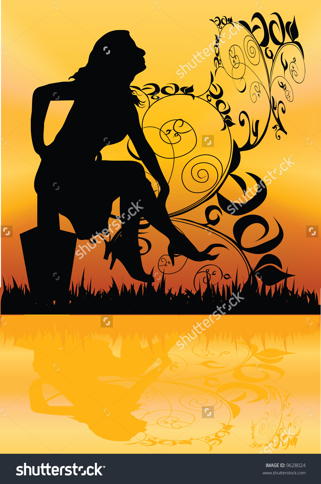Girl Evening On River Illustration Stock Illustration 9628024.
