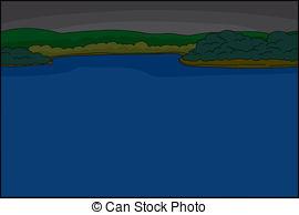 Vectors of River at night.