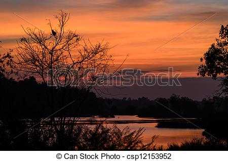 Stock Images of river and sky in the evening in the countryside.