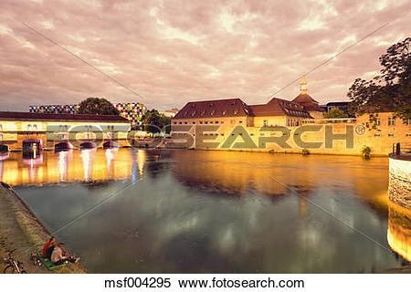 Stock Image of France, Alsace, Strasbourg, Petite France, Barrage.