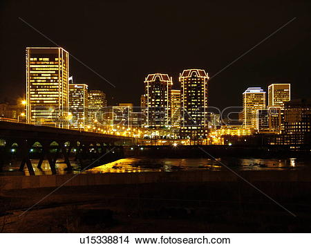 Stock Photo of Richmond, VA, Virginia, James River, downtown.