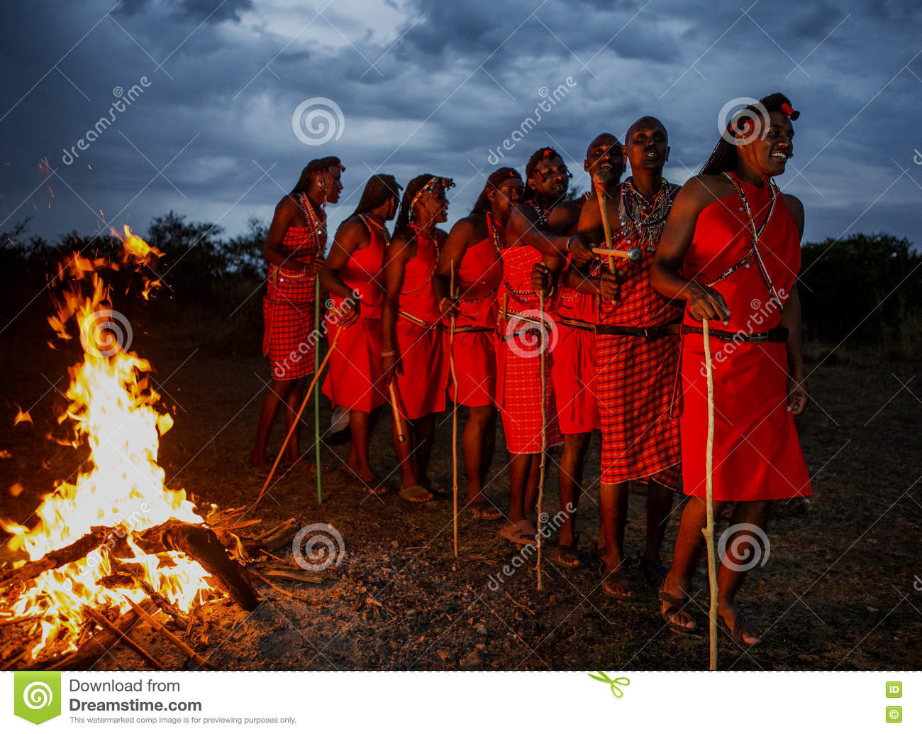 Warriors The Masai Tribe Dancing Ritual Dance Around The Fire Late.