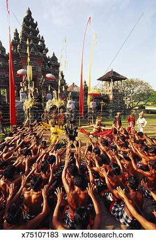 Stock Photo of Bali,people performing Kecak Dance, cultural monkey.