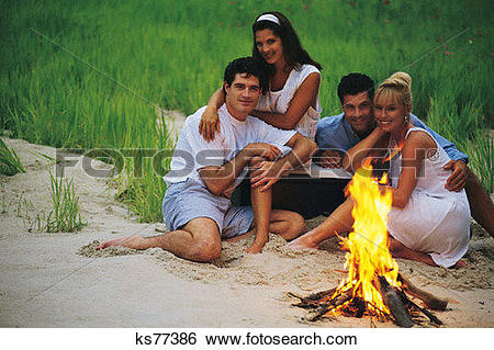 Stock Images of Friends, Beach, Couple, Evening, Fire, Friend.