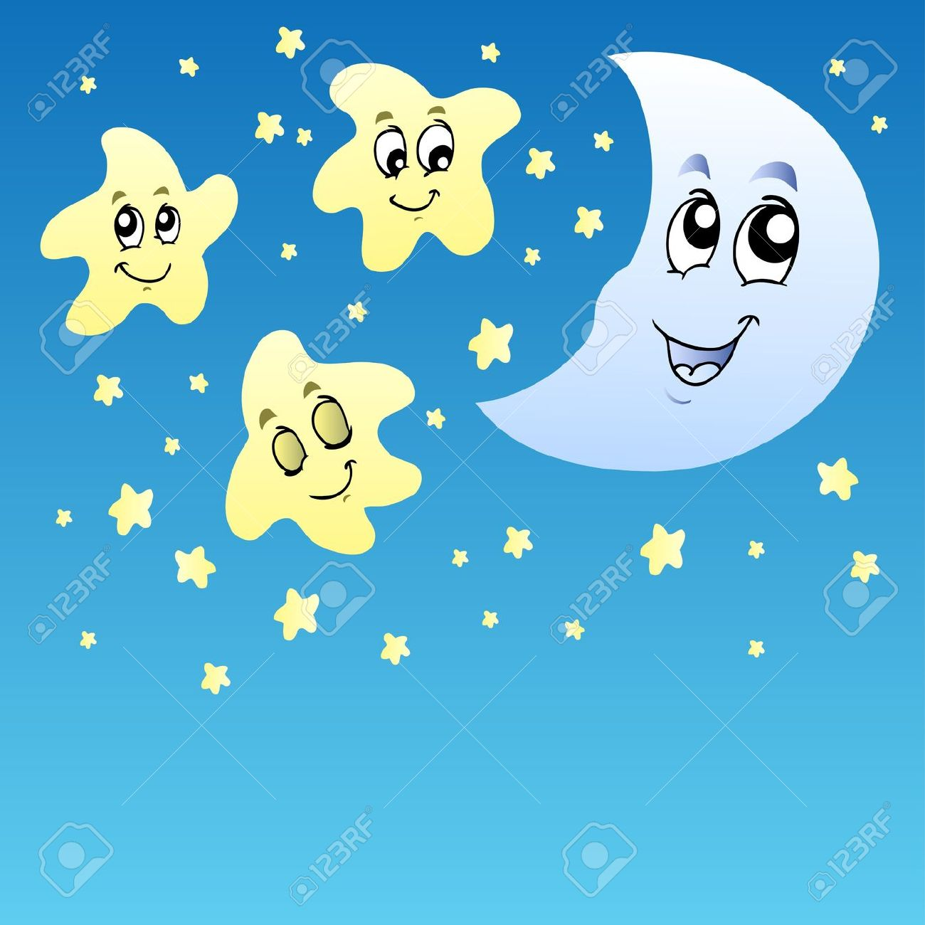 Moon and stars at night clipart.
