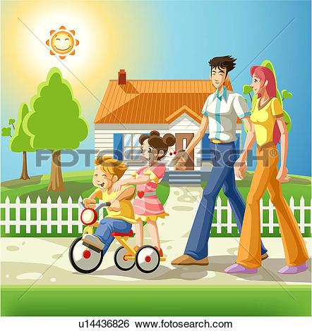 Stock Illustration of Family on an Evening Walk u14436826.