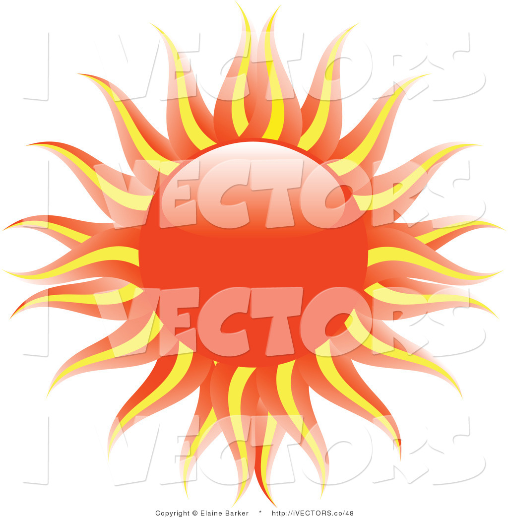 Vector Graphic of a Hot Evening Sun with Orange and Yellow Rays.