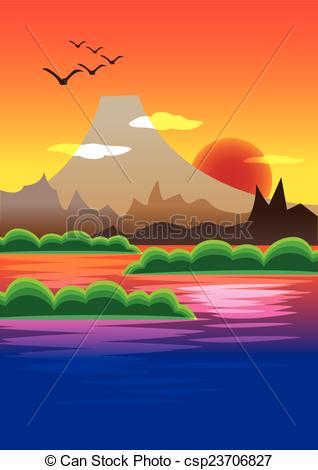 Mountain sunset clipart.