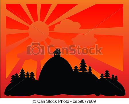 Evening sunset clipart #13