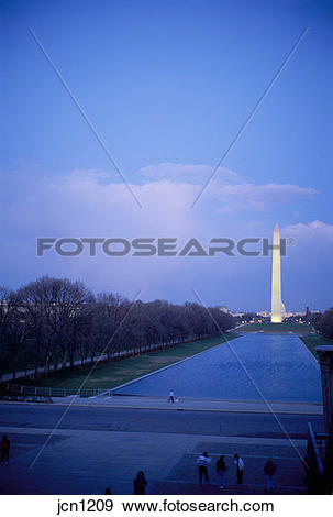 Stock Photograph of Washington Monument and Reflecting Pool in the.