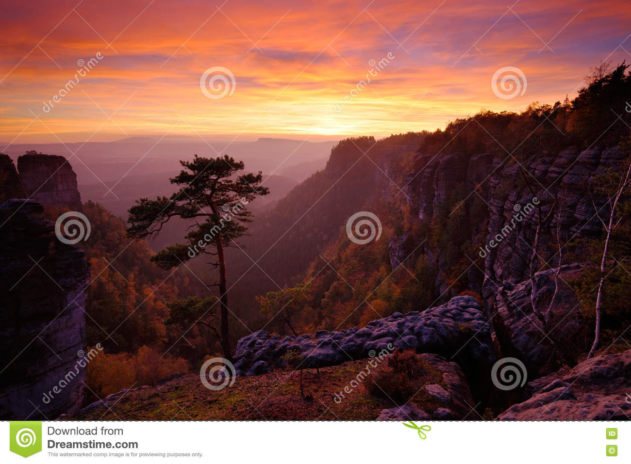 Beautiful Twilight Sunset Landscape. Evening It Rocky Hill With.