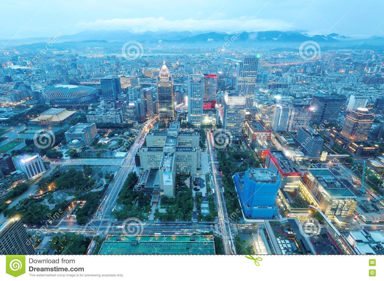Aerial Panorama Form Taipei 101 Tower Over Taipei City In Evening.