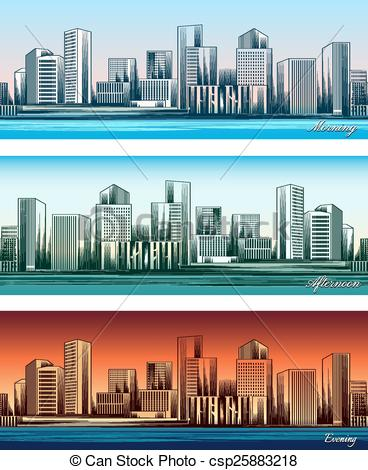 Vector Clip Art of City skylines in morning, afternoon and evening.