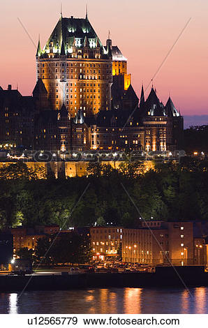 Stock Photograph of Chateau Frontenac Hotel from across St.