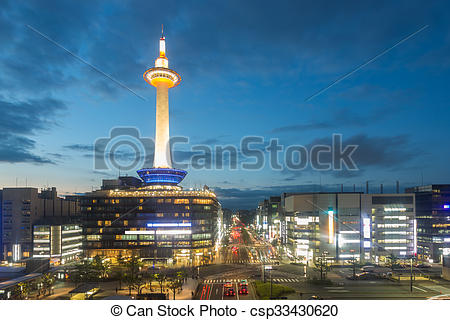 Stock Photo of Kyoto Tower Downtown Aerial View Evening Twilight.