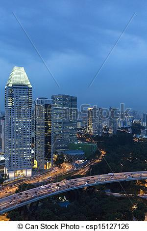 Stock Photo of Singapore cityspace on evening twilight sky.