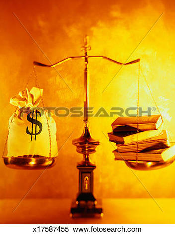 Stock Image of Scale Weighing Money and Education Evenly x17587455.