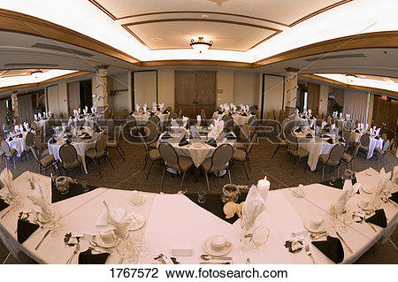 Stock Photo of Banquet hall set up for wedding reception 1767572.