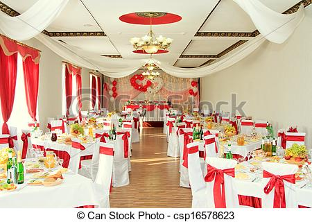 Stock Photo of banquet hall or other function facility set for.
