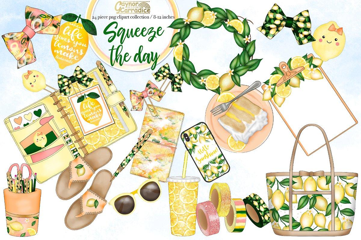 Summer Lemons Planner Clipart.
