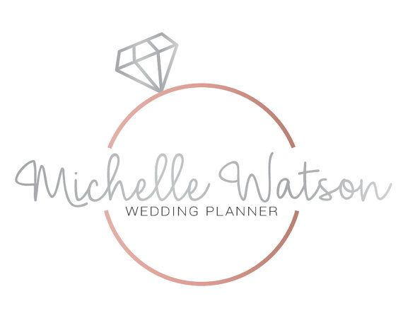 Rose Gold Diamond Logo Branding Kit, Wedding Photographer.