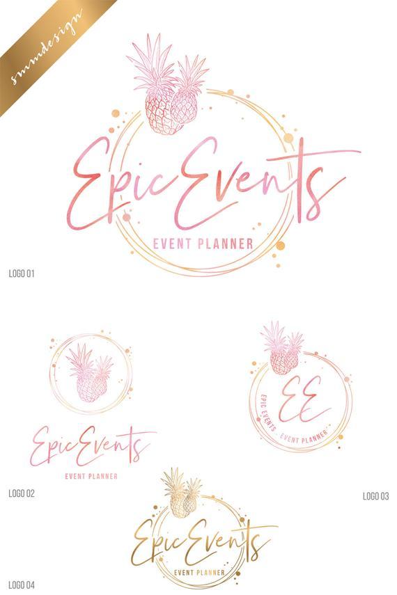 Pineapple logo, Wedding planner Logo design, Tropical logo.