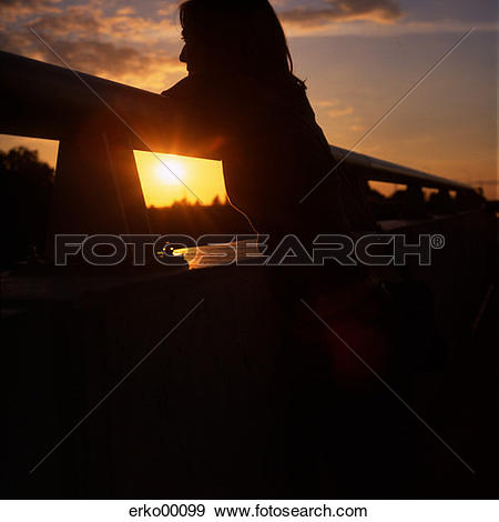 Stock Photograph of twilight, handrail, romanticism, shadow.