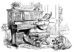 Victorian furniture illustration, black and white graphics.