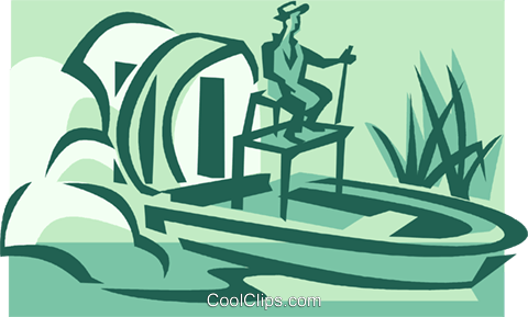 Fan boat on the everglades Royalty Free Vector Clip Art.