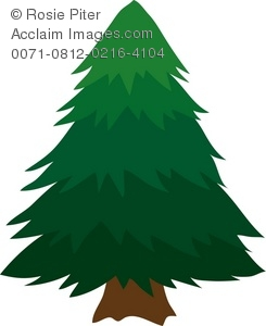 Evergreen Tree Brown Clipart.