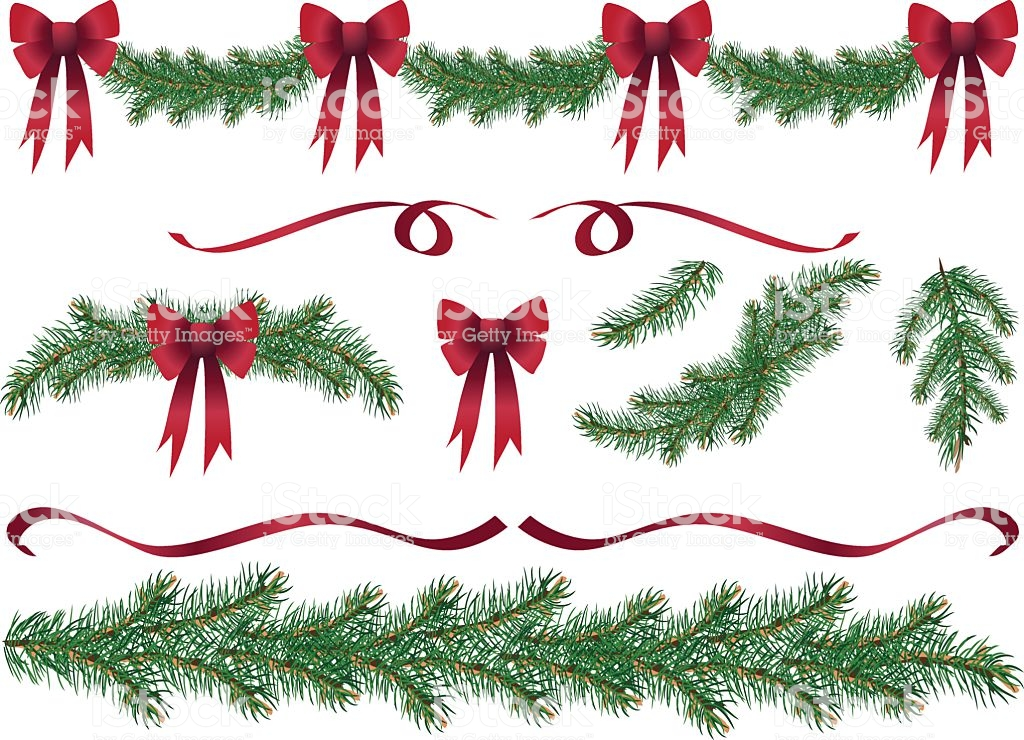 Evergreen Garland Swags And Design Elements Clipart With Red Bows.