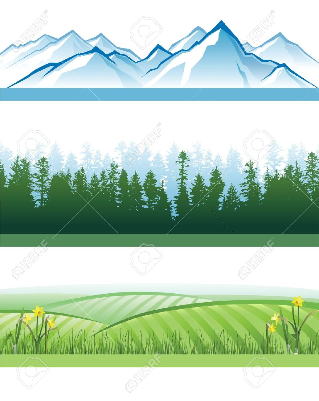 3 Colorful Landscape Banners With Mountains, Forests And Hills.