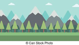 Vector of Panorama of mountains. Evergreen trees..