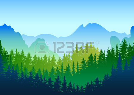 Vector Summer Or Spring Landscape. Panorama Of Mountains, Green.