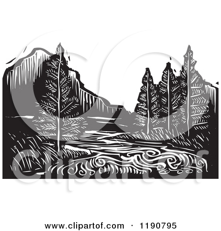 Clipart of a River Mountain and Evergreen Landscape Black and.