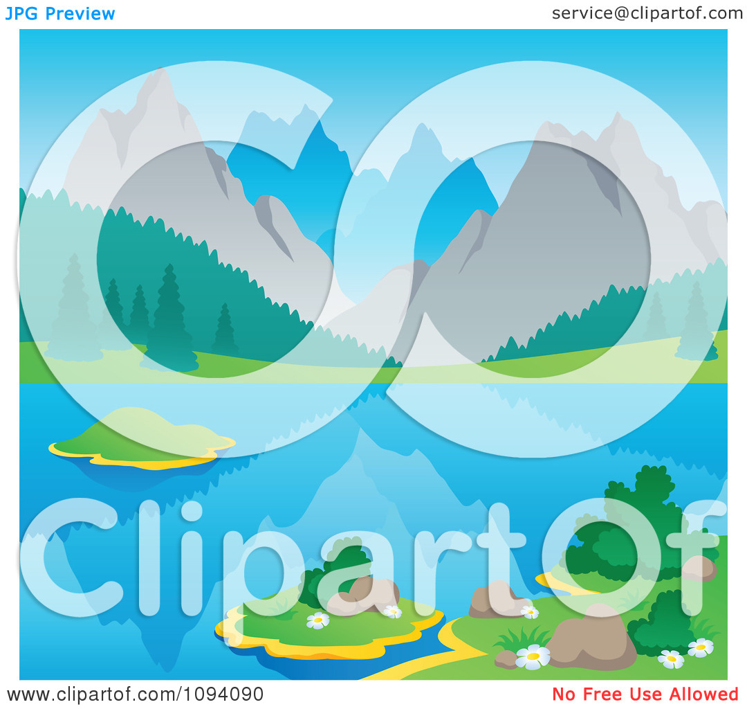Clipart Summer Mountain Landscape With A Still Lake.