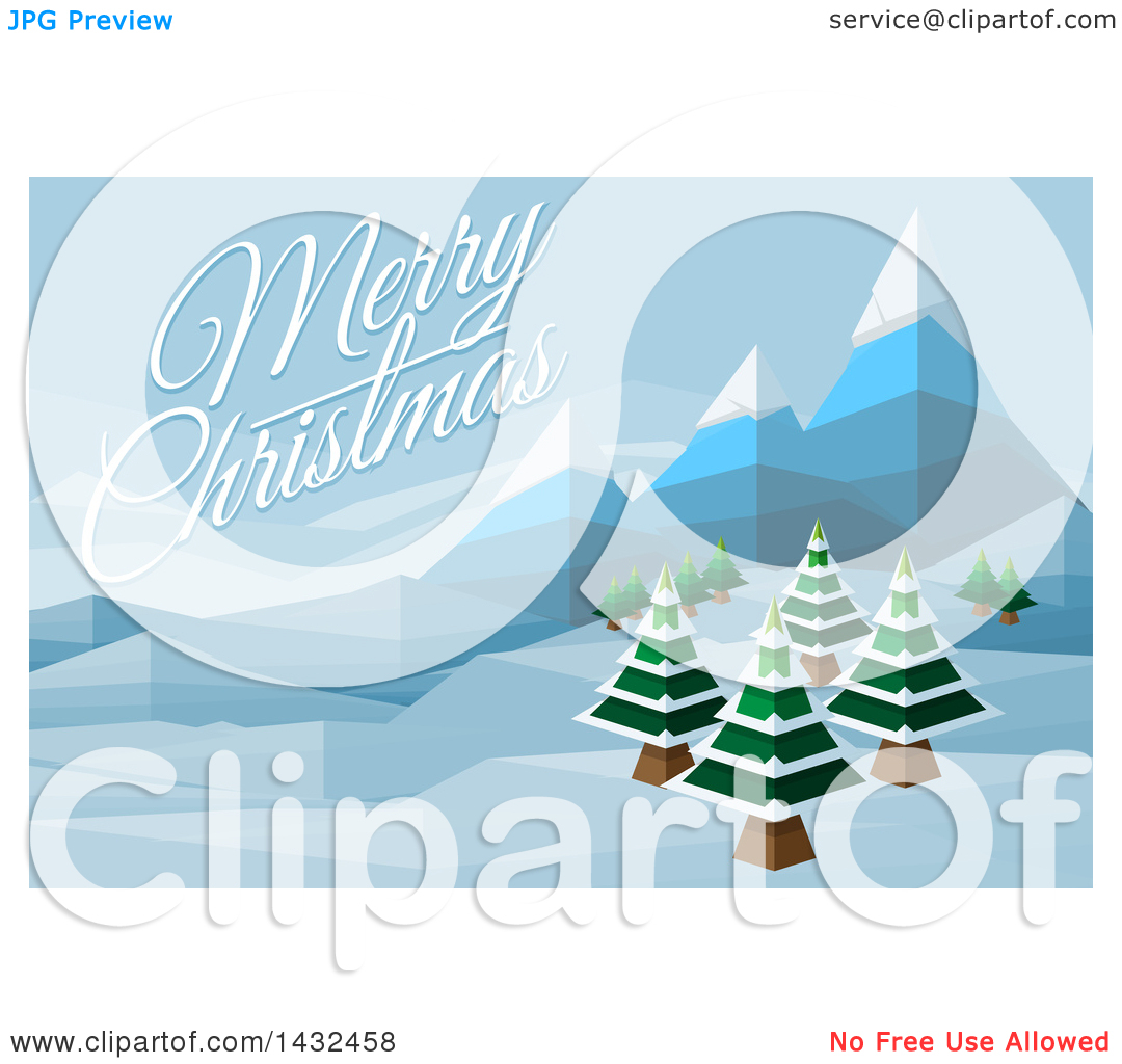 Clipart of a Merry Christmas Greeting over a Geometric Polygon.