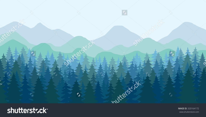 Abstract Vector Image Mountain Landscape Dense Stock Vector.