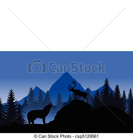 Vector Clip Art of Mountain landscape with a wolf and a deer. A.