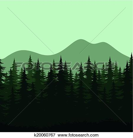 Clip Art of Seamless mountain landscape, forest silhouettes.